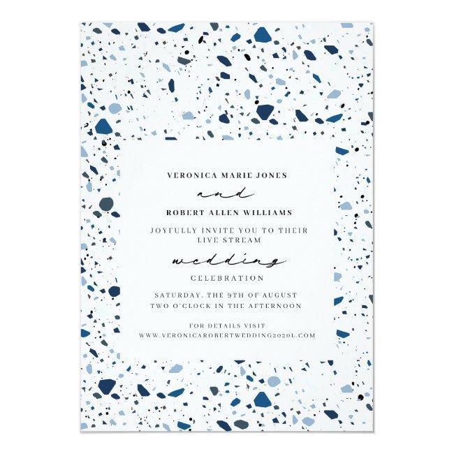 Live Stream Virtual Wedding Cobalt Terrazzo Invitation