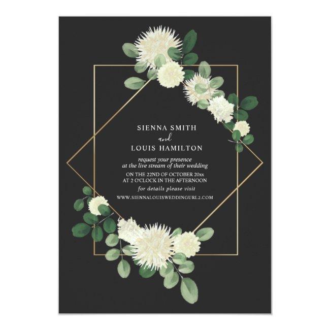 Live Stream Virtual Wedding Floral Botanical Gray Invitation
