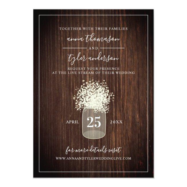 Live Stream Virtual Wedding Rustic Mason Jar Wood Invitation