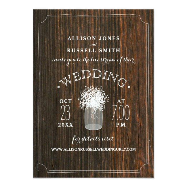 Live Stream Virtual Wedding Rustic Wood Mason Jar Invitation