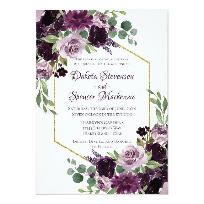 Love Bloom   Moody Dramatic Passion Purple Bouquet Invitation
