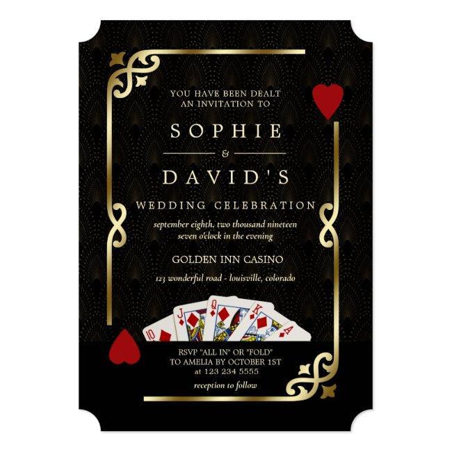 Luxury Gatsby Casino Vegas Poker Wedding Invitation