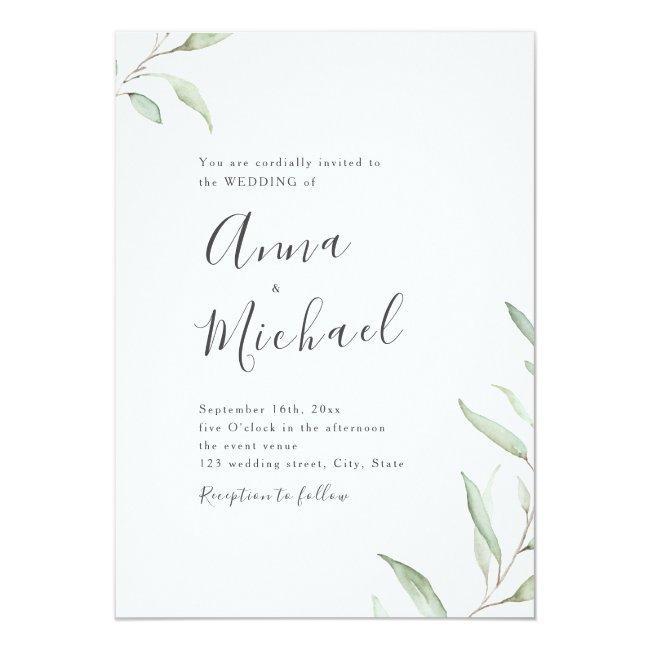 Minimal Greenery Calligraphy Rustic Wedding Invitation