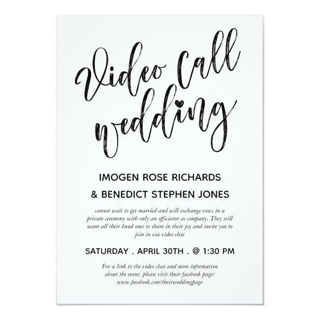 Minimalist Brush Script Video Call Wedding Invitation