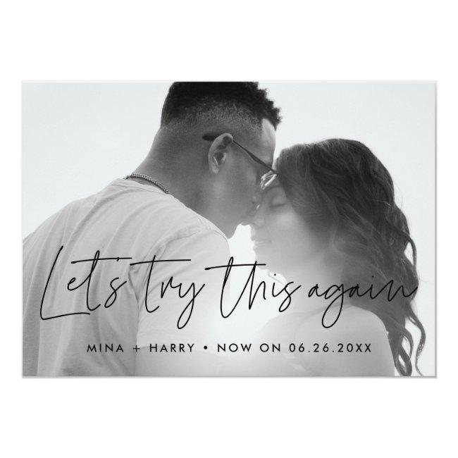 Minimalist Let's Try This Again Wedding Update Announcement
