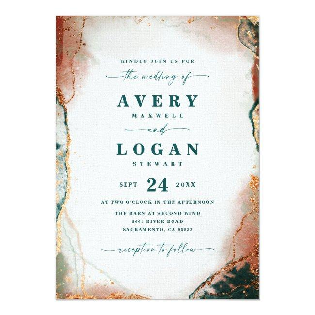Modern Abstract Teal Copper & Gold Fall Wedding Invitation