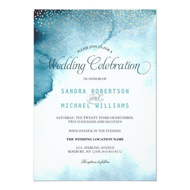Modern Ocean Blue Ombre Watercolor Wedding Invitation