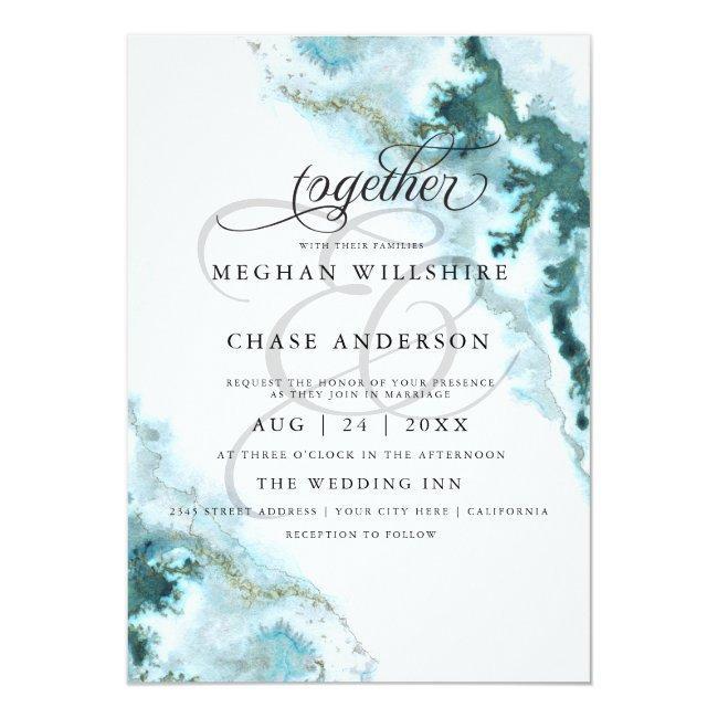 Modern Teal Watercolor Moss Agate Barefootbride™ Invitation