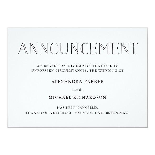 Modern Wedding Cancellation Announcement