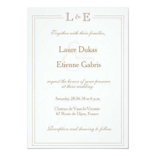 Monogram Ivory White Gold Ampersand Modern Wedding Invitation