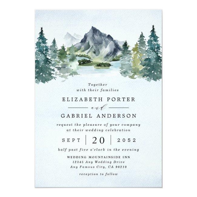 Mountain Watercolor Evergreen Rustic Tree Wedding