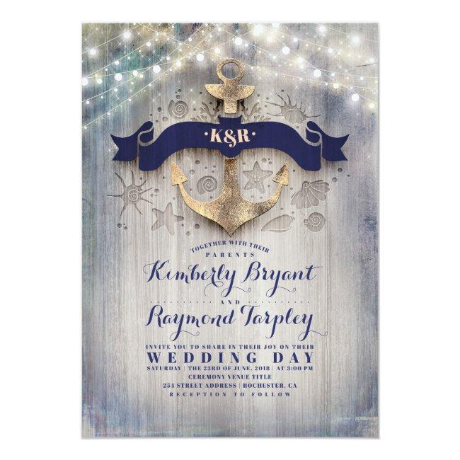 Navy And Gold Nautical Rustic Anchor Beach Wedding Invitation