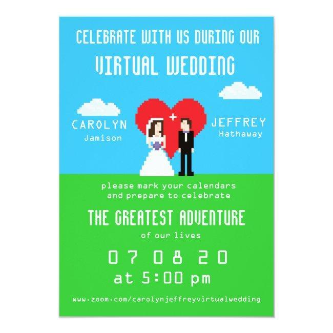 Nerdy 8-bit Bride & Groom Virtual Wedding Invites