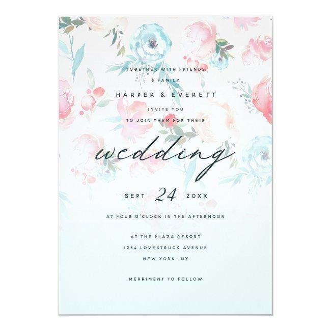 Pink Ombre French Garden Shabby Floral Wedding Invitation