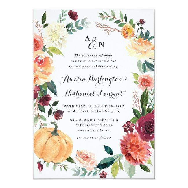 Pumpkin Elegant Fall Floral Rustic Themed Wedding Invitation