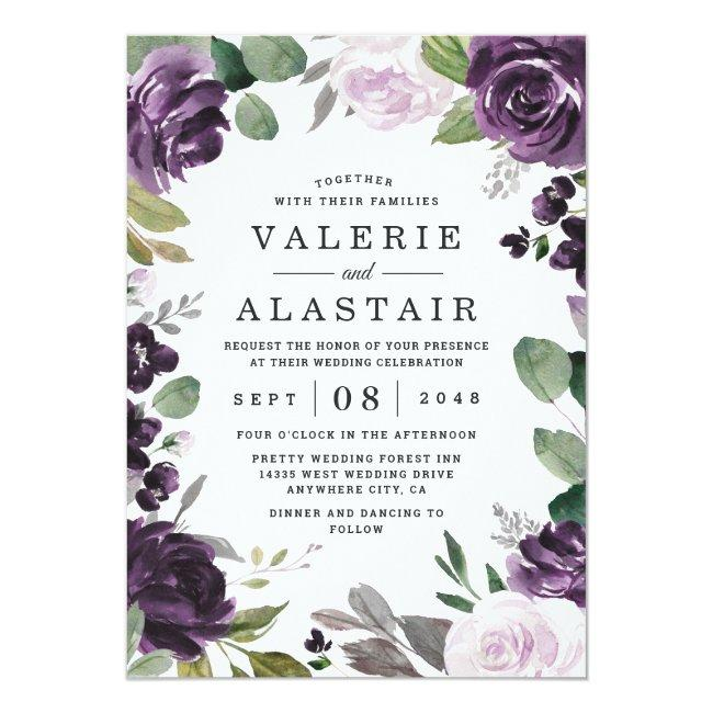 Purple And Silver Elegant Floral White Wedding Invitation