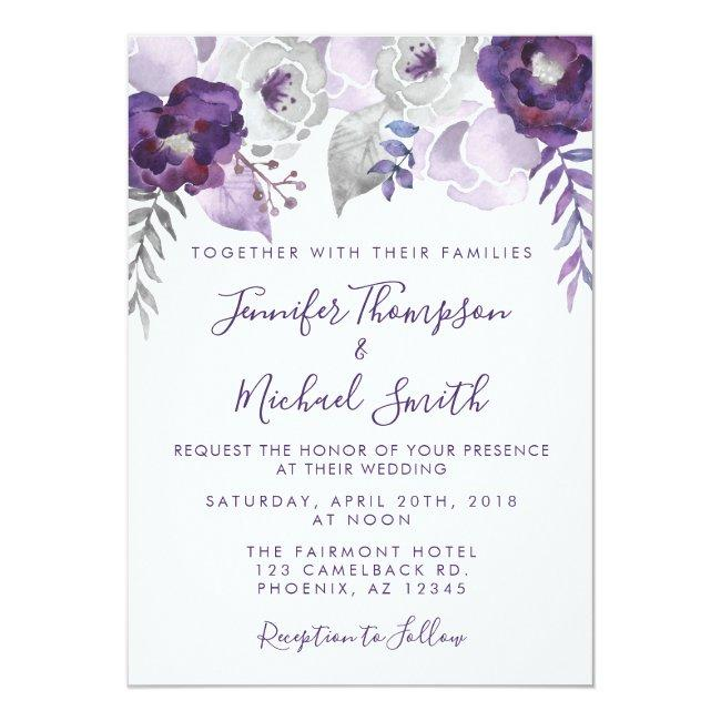 Purple And Silver Watercolor Floral Wedding Invitation