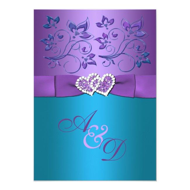 Purple, Teal Floral Hearts Monogram Wedding Invite