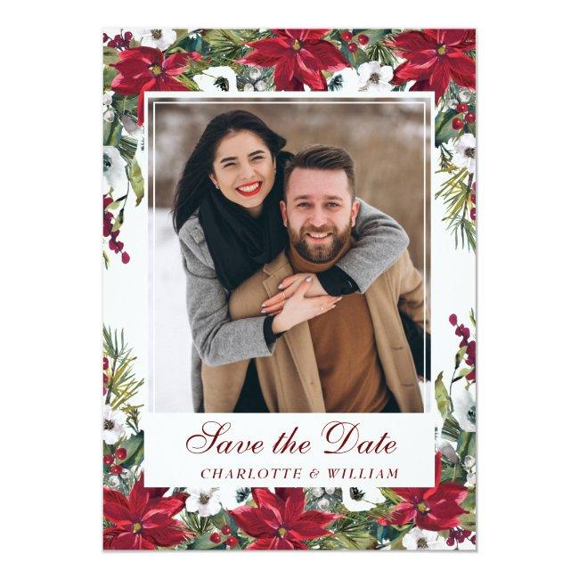 Red Poinsettia Christmas Wedding Save The Date Invitation