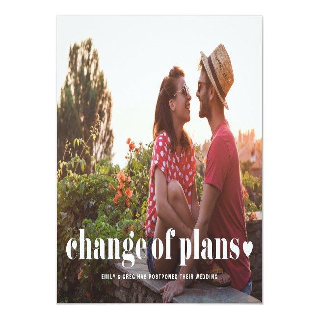 Retro Typography Photo Change Of Plans Wedding Announcement Postcard