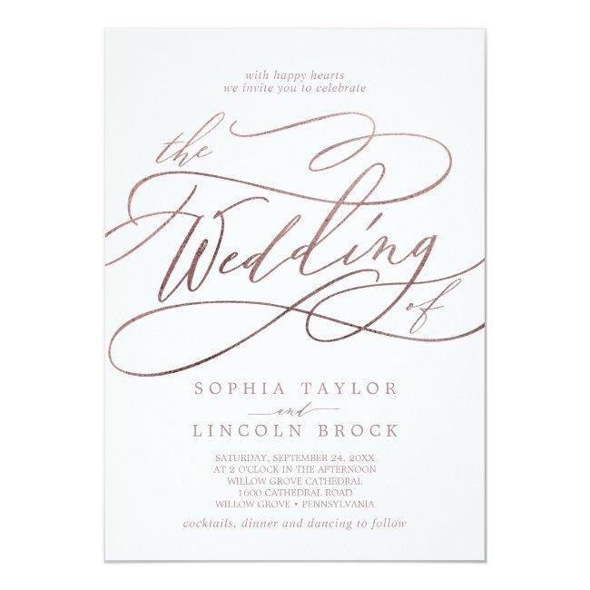 Romantic Rose Gold Calligraphy The Wedding Of Invitation