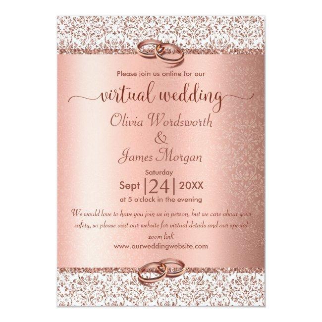 Rose Gold Monogram Glitter Virtual Wedding Invitation
