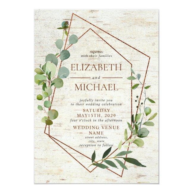 Rustic Copper Geometric Greenery Elegant Wedding Invitation