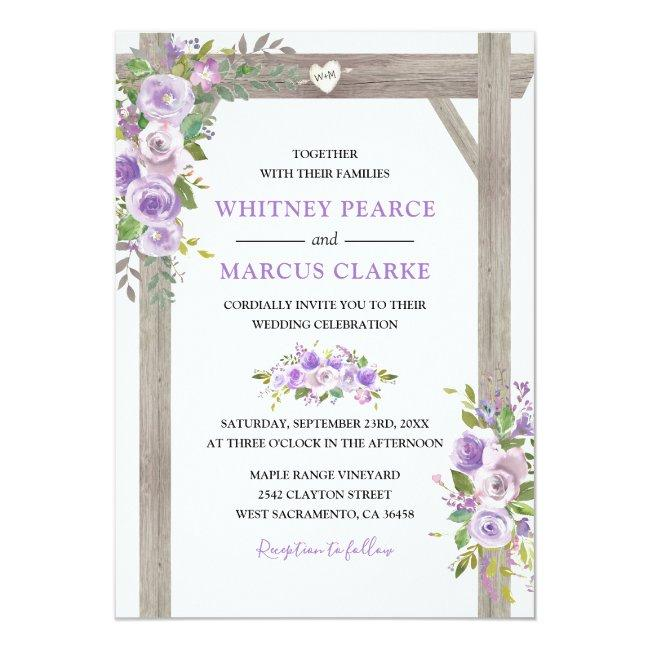 Rustic Country Purple Floral Wedding Pergola Invitation