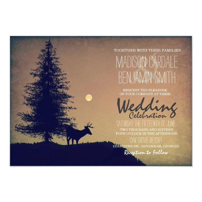 Rustic Deer Pine Tree Country Wedding Invitations