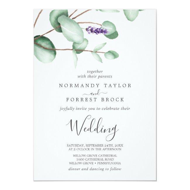 Rustic Lavender And Eucalyptus Wedding Invitation