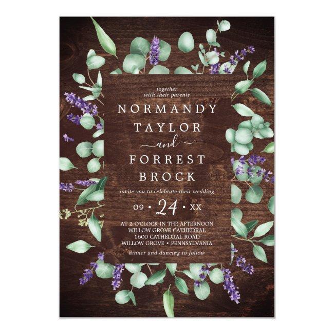 Rustic Lavender   Wooden Floral Frame Wedding Invitation