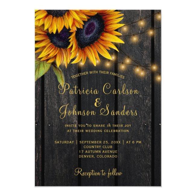 Rustic Lights Sunflower Barn Wood Wedding Invitation