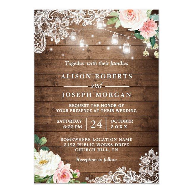 Rustic Mason Jar Lights Floral Lace Wedding Invitation