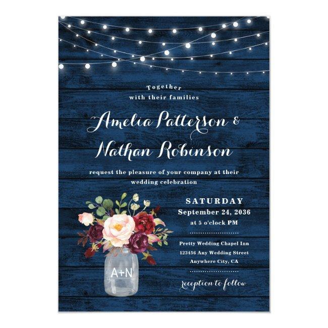 Rustic Navy Blue And Burgundy Blush Floral Wedding Invitation