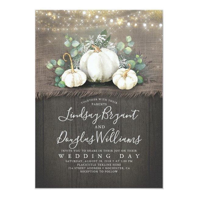 Rustic White Pumpkin And Baby's Breath Wedding Invitation