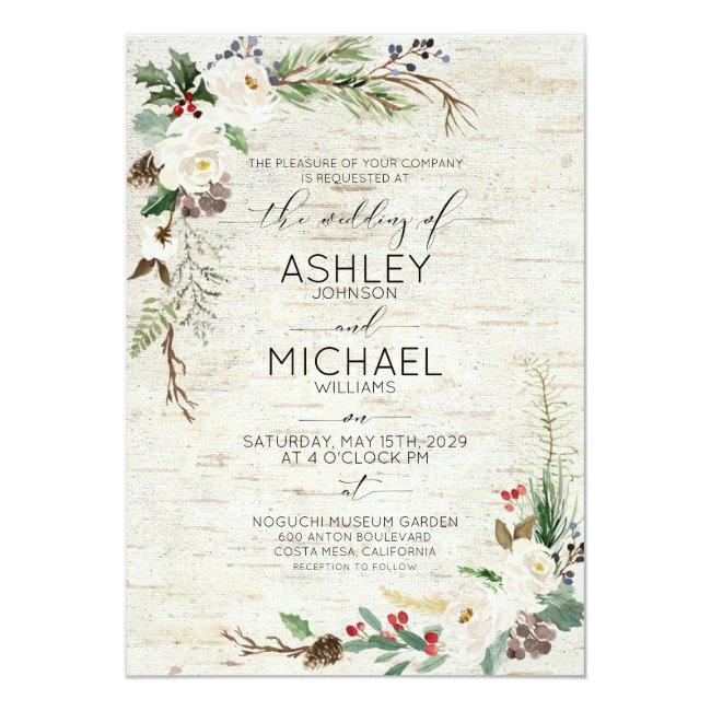 Rustic Winter Birch Calligraphy Botanical Wedding Invitation