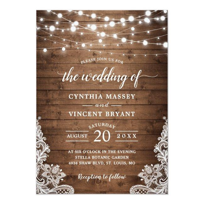 Rustic Wood Twinkle String Lights Lace Wedding Invitation