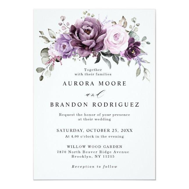 Shades Of Dusty Purple Blooms Moody Floral Wedding