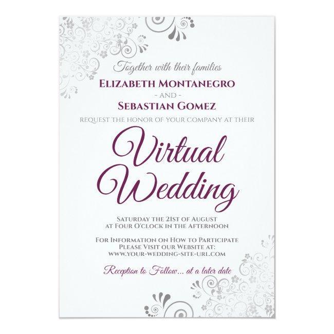 Silver Frills Cassis Purple White Virtual Wedding Invitation