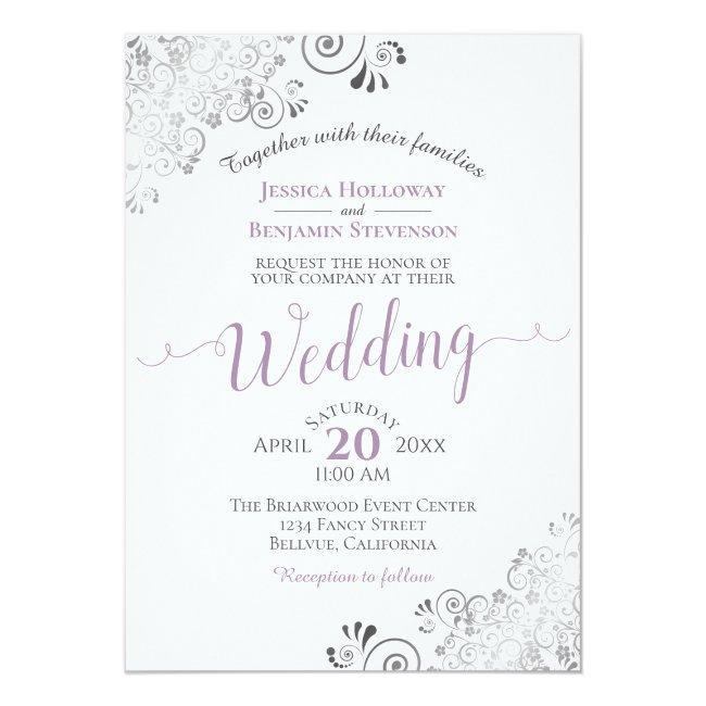Silver Frills Elegant Lavender On White Wedding Invitation