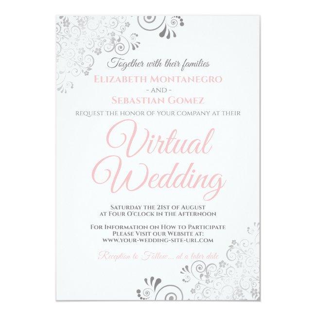 Silver Frills Elegant Pink & White Virtual Wedding Invitation