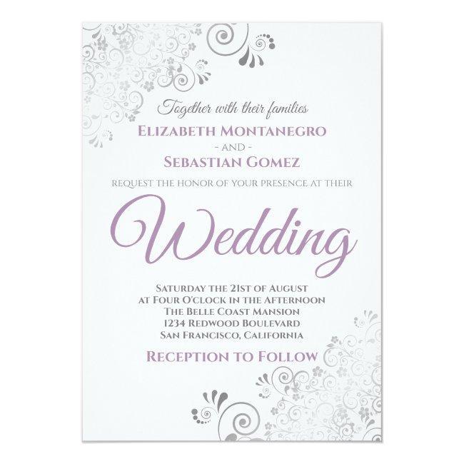 Silver Frills Simple Purple Gray & White Wedding Invitation