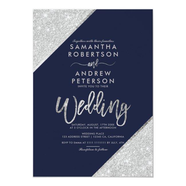 Silver Glitter Typography Navy Blue Wedding Invitation