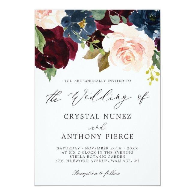 Simple Luxurious Burgundy Navy Floral Wedding Invitation