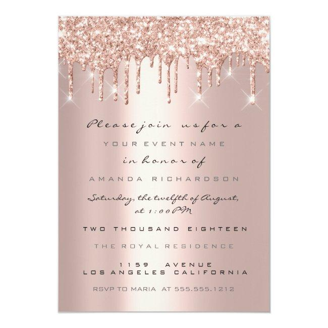 Spark Glitter Drips Rose Gold  Bridal Sweet 16th Invitation