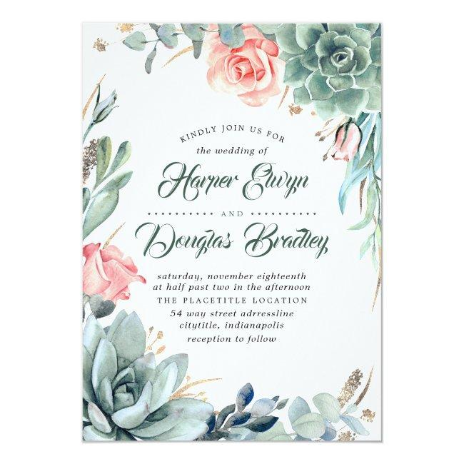 Succulent Greenery Pink Floral Modern Wedding Invitation