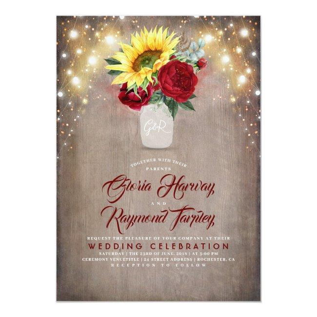 Sunflower And Burgundy Rose Mason Jar Fall Wedding Invitation