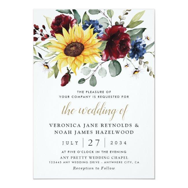 Sunflower Burgundy Roses Navy Blue Rustic Wedding Invitation