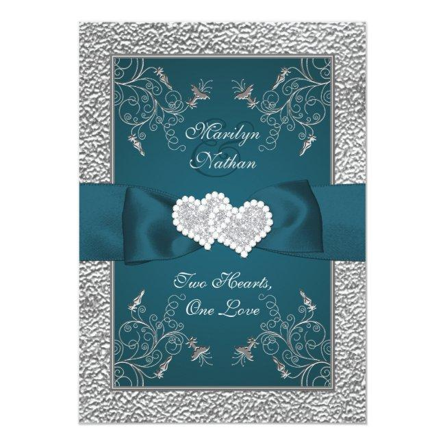 Teal And Gray Joined Hearts Wedding Invite