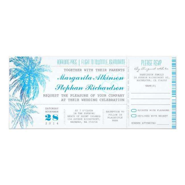Turquoise Destination Wedding Tickets Invitation
